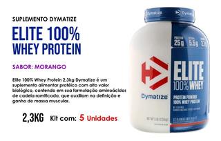 5x Elite 100% Whey Protein Dymatize Morango 2,3kg