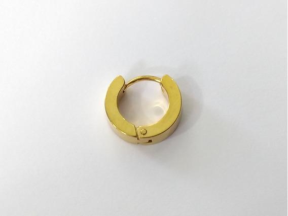 Brinco Argola 14 Mm Masculino Titânio Dourado