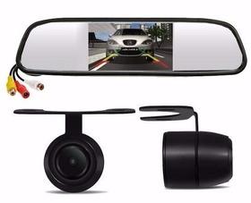 Espelho Retrovisor Tela Lcd 4,3 + Camera De Ré Dvd Completo