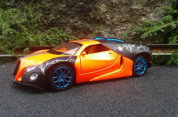 Raridade Miniatura Bugatti Escala 1/32 Acende Farois, 14cm