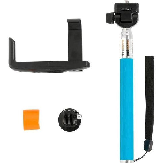 Monopod Bastão Pau De Selfie P/ Gopro E Smartphone Azul