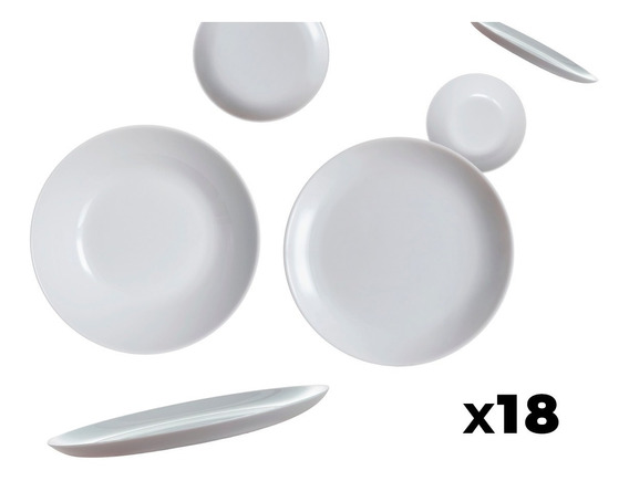 Juego De Vajilla Platos Luminarc Vidrio Resistente Combo X18