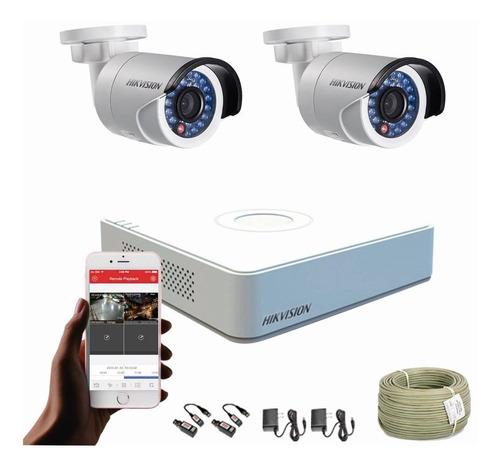 Cámaras De Seguridad Kit 1080p Hikvision Mini Dvr 4ch + 2cám
