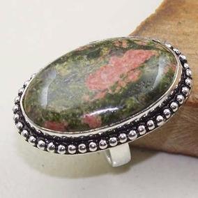 Anel Aro 16 Artesanal Prata Indiana Pedra Unakita Natural