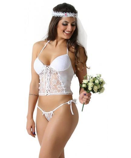 Corselet Sensual Noivinha Sexy + Brinde Promoção