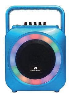 Parlante Portatil Bafle Con Bate. Blue/luces/usb C/microfono
