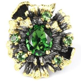 Anel Flor Prata, C/ródio Negro E Cristais Verde Esmeralda.