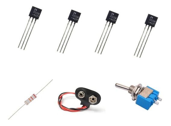 Kit 4 Transistor 2n2222a, Resistor 22k, 1 Conecto 9v 1 Chave