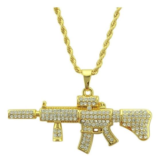 Colar Cordão Fuzil Ar 15 Ouro Brilhante Arma Corrente
