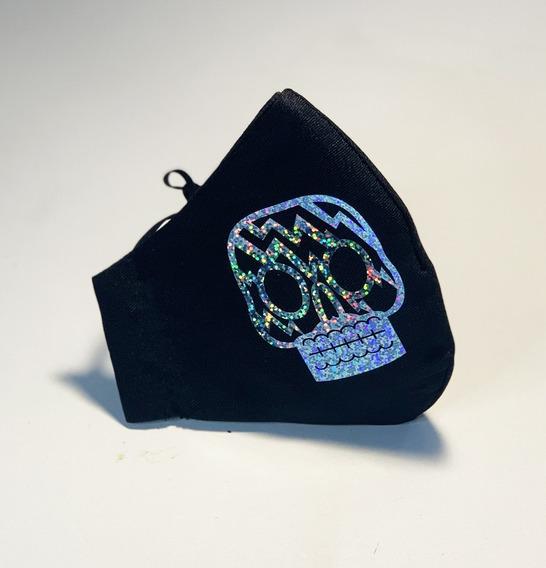Cubre Bocas Lavable Calavera Holográfica Adulto Rayo