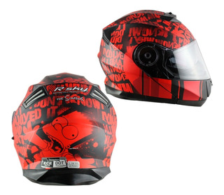 Casco Abatible The Simpsons Skate Bart Rojo Mate Dot Y Ece22