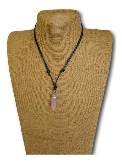 Colar De Pedra Natural Ponta Quartzo Rosa Ajustável Ref:0093