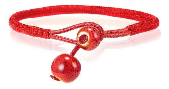 Bracelete Oriental Vermelho De Lã E Cerâmica (par) Exclusivo