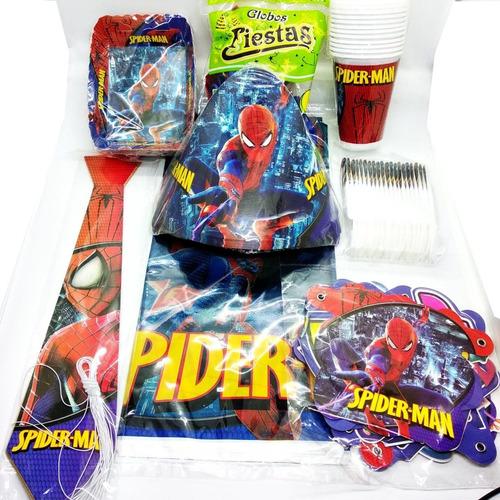 Kit Decoración Piñata Fiesta Infantil Spiderman 12 Invitados