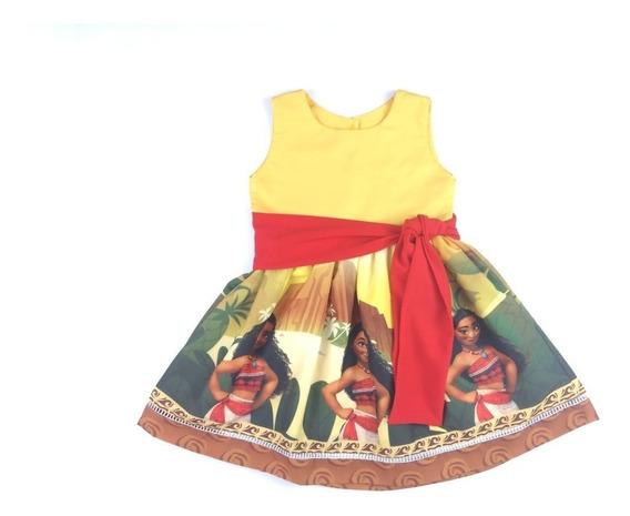Vestido Moana Jovem Laço Festa Infantil Temático