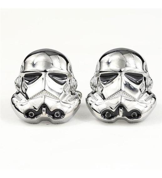 Mancuernillas Star Wars Strormtrooper Anch Plateado Y Negro