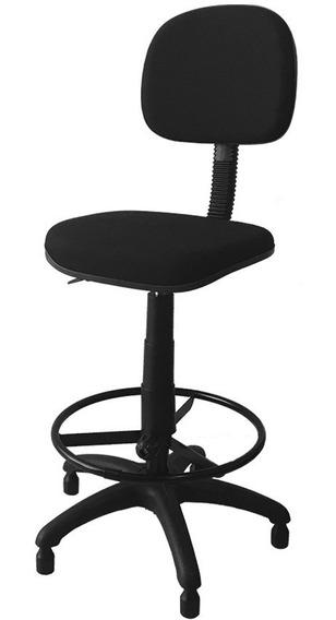 Cadeira Caixa Alta Secretária Estofada Tecido Preto