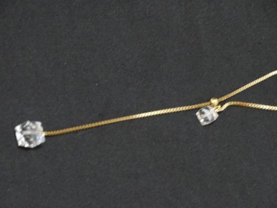 Colares Femininos Dourado Pedras Incolor