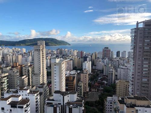 Cobertura  Vista Mar Com 3 Dormitórios À Venda, 244 M² Por R$ 3.300.000 - Boqueirão - Santos/sp - Co0070