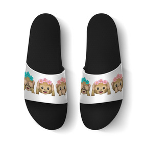 Chinelo Slide Sandália Unissex Emoji 3 Macaquinhos Sábios