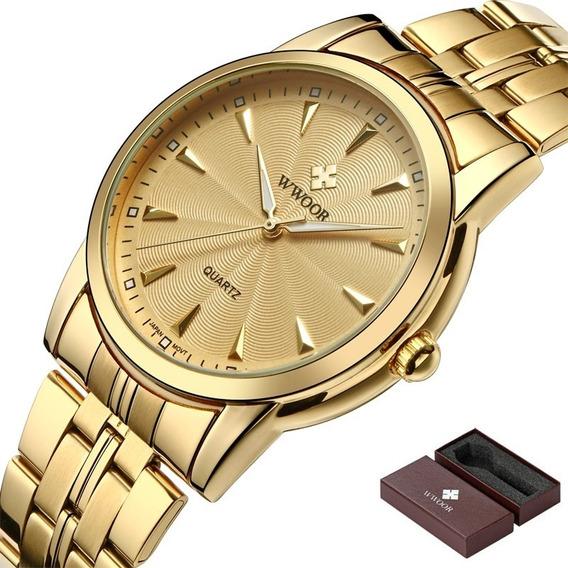 Relógio De Pulso Masculino 8028 De Luxo Em Aço Inoxidável