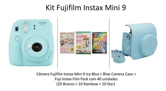 Kit Câmera Instax Fuji Mini 9 + Filme 40 Poses + Bolsa