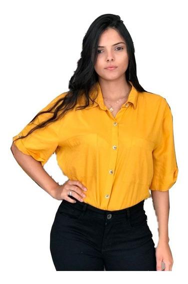 Camisa Feminina Camiseta De Botões Social Camiseta Dress To
