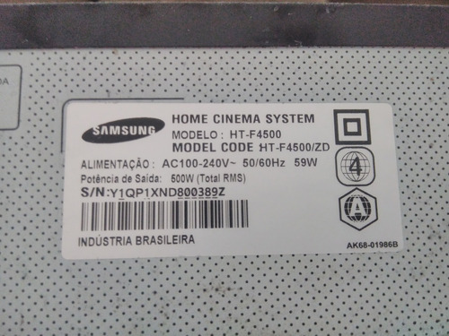 Bluray Sansung Htf-4500 Home Cinema System Com Defeito
