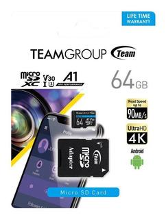 Micro Sd 64gb Team Group Elite U3 V30 4k Hasta 90mb/s