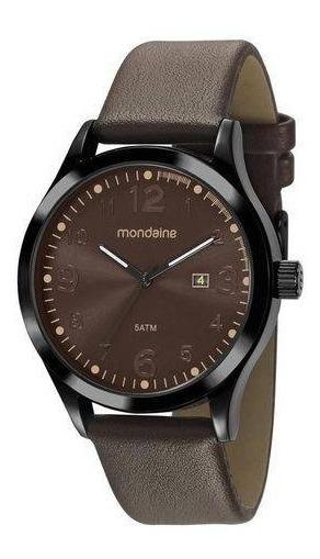 Relógio Mondaine Preto Pulseira Couro Marrom, 99396gpmvph1