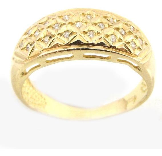 3780 Anel Ouro 18k 750 Com Diamantes Ro Joias