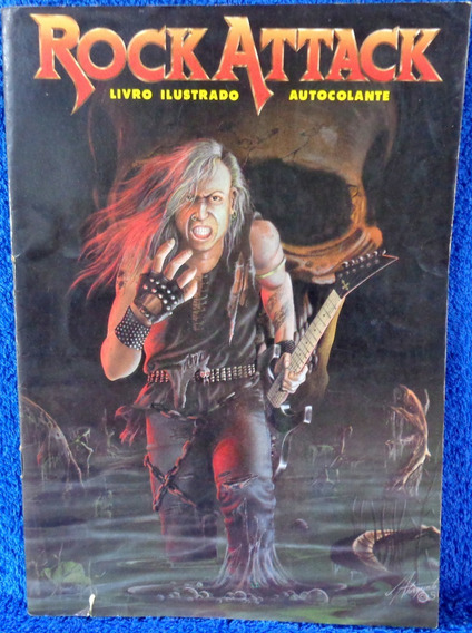 Revista Rock Attack Livro Ilustrado Autocolante Raro