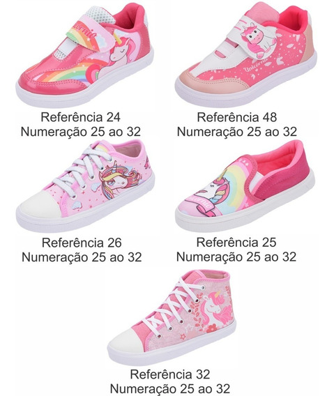 Kit 12 Pares Tênis Infantil Unicórnio Atacado Revenda Promo