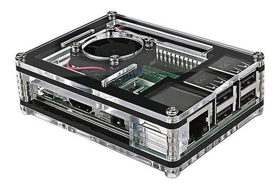 Kit Case Acrilico + Cooler + 3 Dissipadores Raspberry Pi Nfe