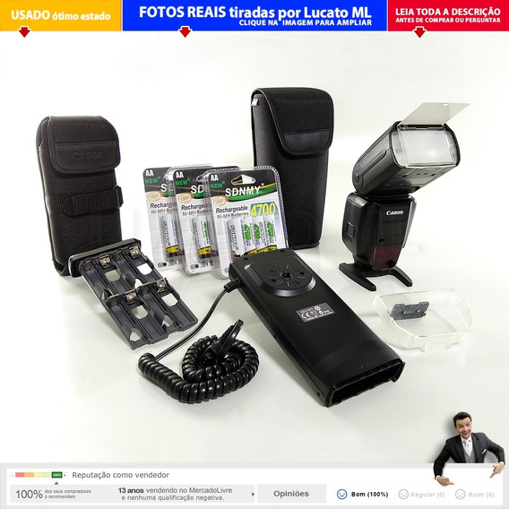 Flash Canon 600ex Rt + Battery Pack Cp-e4 + 12 Pilhas Aa |2a