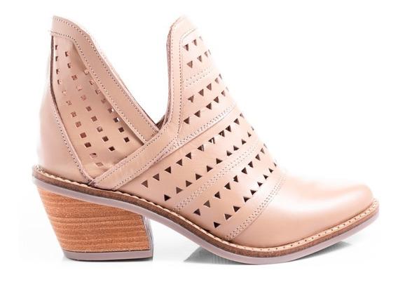 Botas Zapatos Mujer Botinetas Cuero Vacuno Picadas Moda
