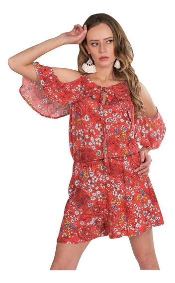 Jumpsuit Corto Short Mujer Casual Flores Moda Naranja Y91103