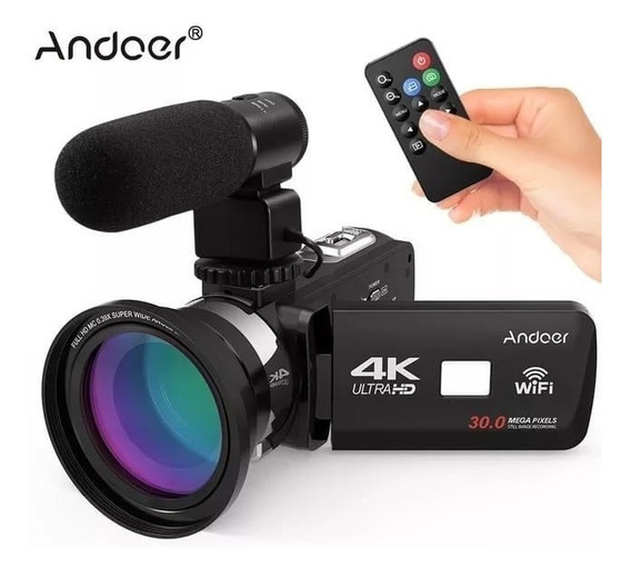 Câmera Digital 4k Fullhd Youtuber Andoer 30mp 16x Zoom Nova