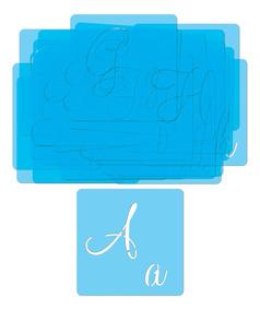 Stencil Vazado Alfabeto Abecedário Letras E Números 6x6