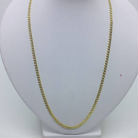 Cordão Folheada Ouro 18k Grumet Ping Cruz 70cm 3mm