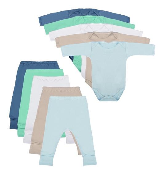 Body Bebê E Calça Mijão 10 Peças Algodão Roupinha Bebê
