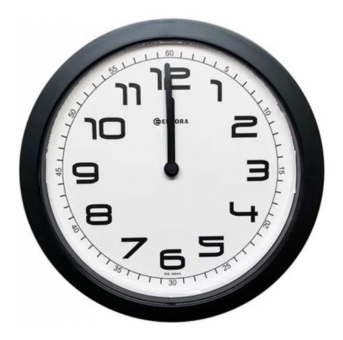 Relógio De Parede Eurora Cozinha Sala Preto 6517