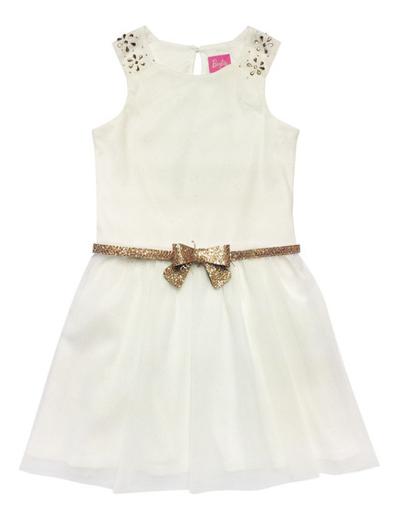Vestido Mesh Ivory Con Oro (36096)