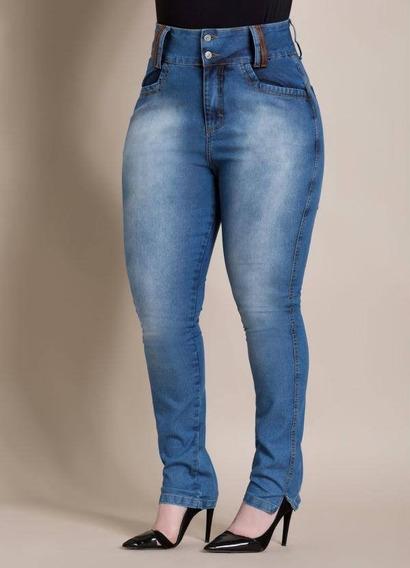 Calça/jeans Cintura/alta Plus/size Moda/feminina