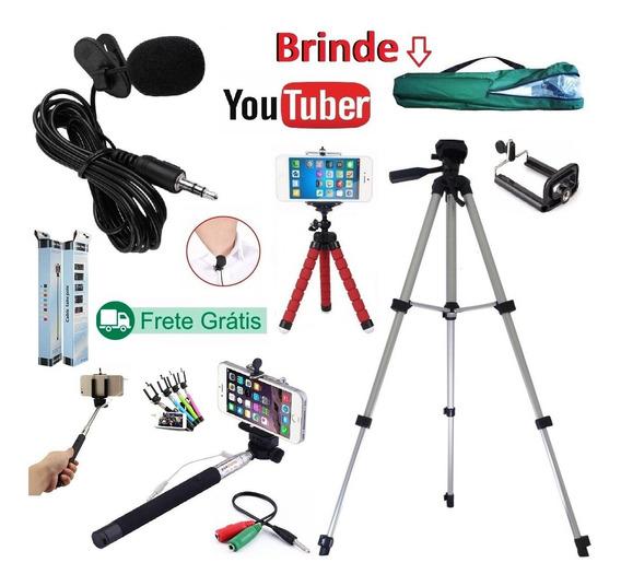 Kit Youtuber 5x1 Lapela Tripé 1,30mt Câmera Celular + Bastão