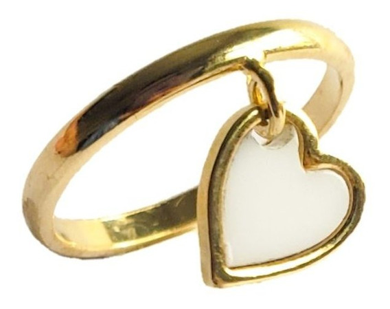 Anel Com Pingente Coração Esmaltado Branco Semijoia Ouro