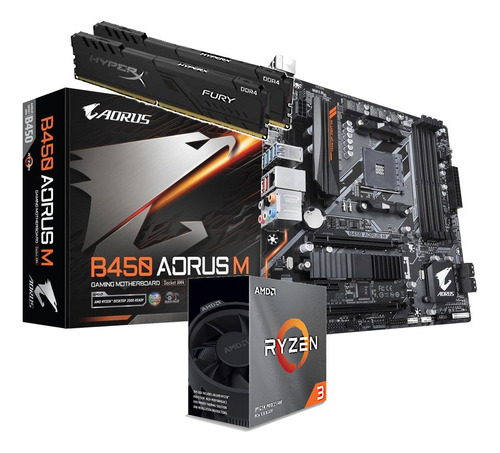 Kit Processador Ryzen 3100 Gigabyte B450 Aorus M Hx 2x 4gb