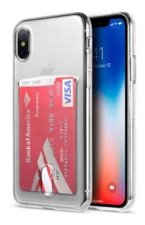 Capa Capinha Case Silicone Com Bolso Para Cartões iPhone