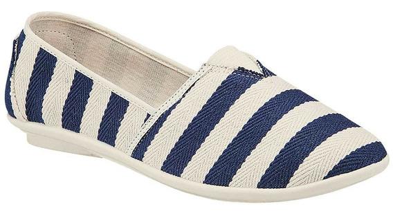 Zapato Casual De Mujer Marino Beige 051-689