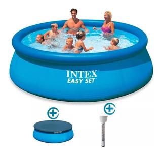 Pileta Inflable Intex 305x76 Cm + Cobertor + Termometro